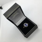 9 carat yellow gold tanzanite and diamond cluster ring