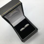 18 carat white gold diamond huggie hoop earrings