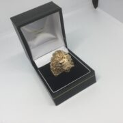 Preowned 9 carat yellow gold lion ring