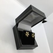 Preowned 18 carat yellow gold diamond flower stud earrings
