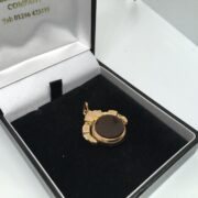 Preowned 9 carat rose gold cornelian and bloodstone fob charm