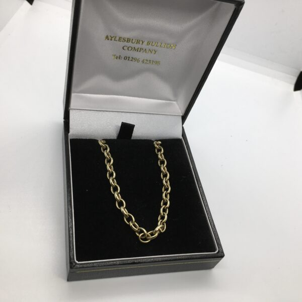 Preowned 9 carat yellow gold oval belchar chain