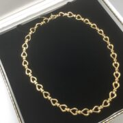 Preowned 9 carat yellow gold fancy link necklet