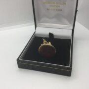Preowned 9 carat yellow gold cornelian fob charm/pendant