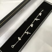 Sterling silver children's cross and heart bracelet