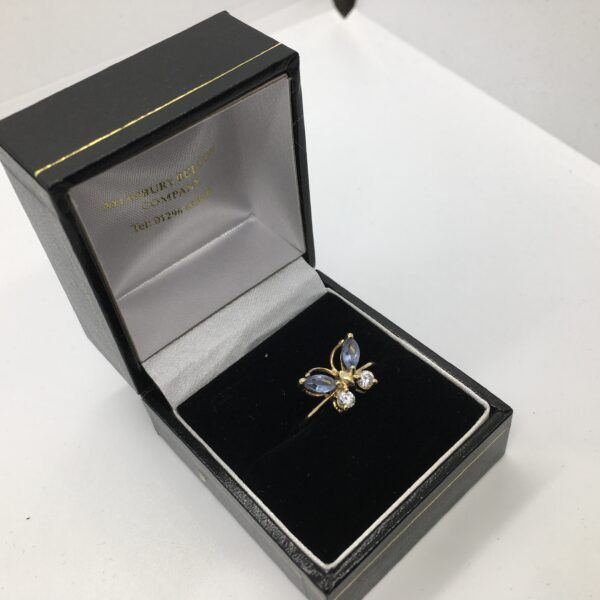 Preowned 9 carat yellow gold tanzanite and cubic zirconia butterfly ring
