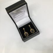 Preowned 9 carat yellow gold sapphire and diamond cluster drop earring