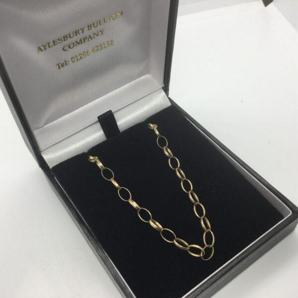 9 carat yellow gold oval belchar chain