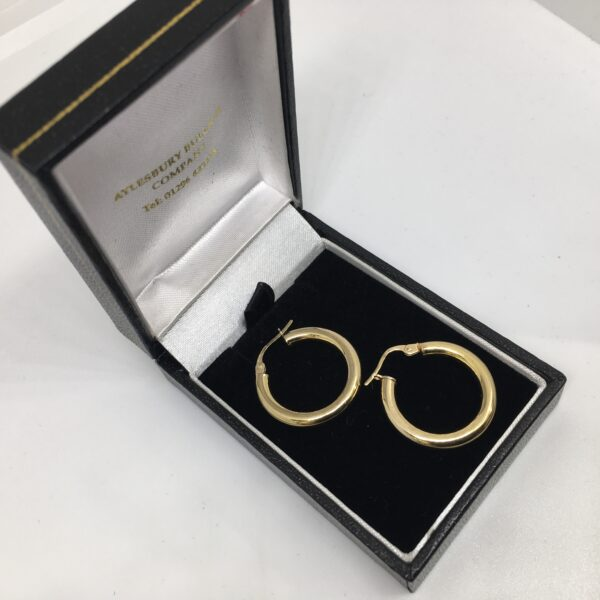 Preowned 9 carat yellow gold tube hoop earrings