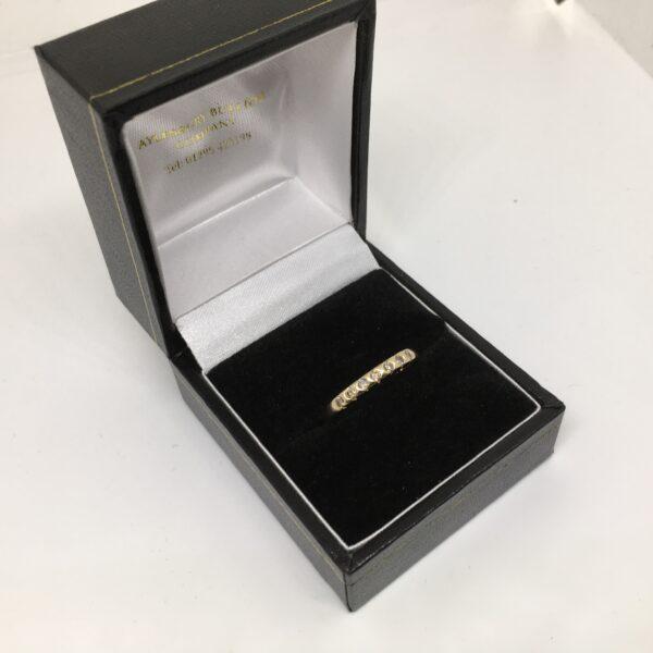 Preowned 9 carat yellow gold cognac diamond Band/ eternity ring