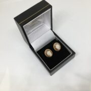 Preowned 9 carat yellow gold cameo stud earrings
