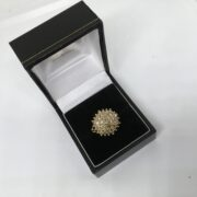 Preowned 9 carat yellow gold cognac diamond cluster ring