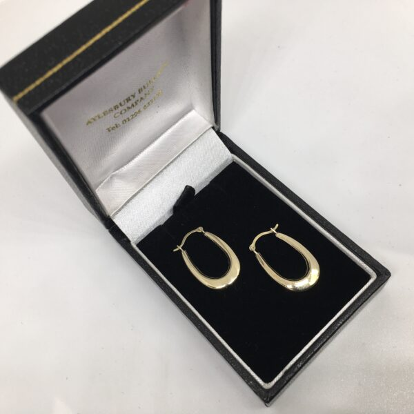 Preowned 9 carat yellow gold hoop earrings