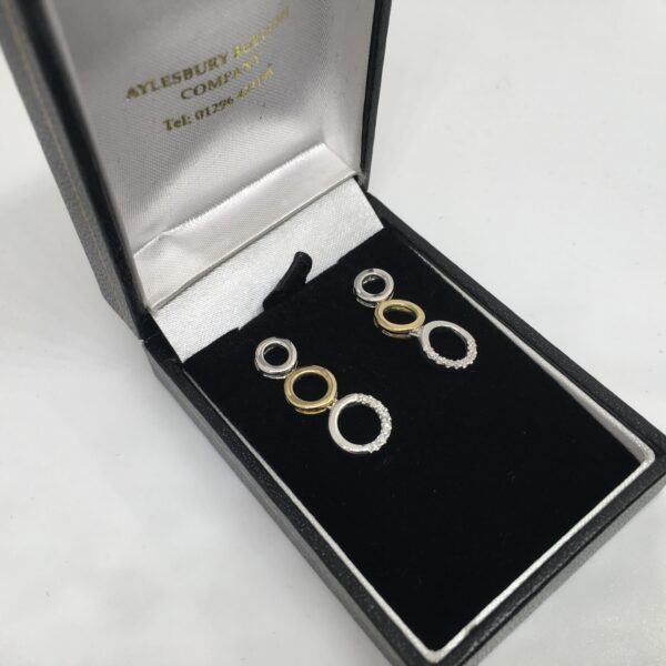 Preowned 9 carat yellow and white gold diamond earrings