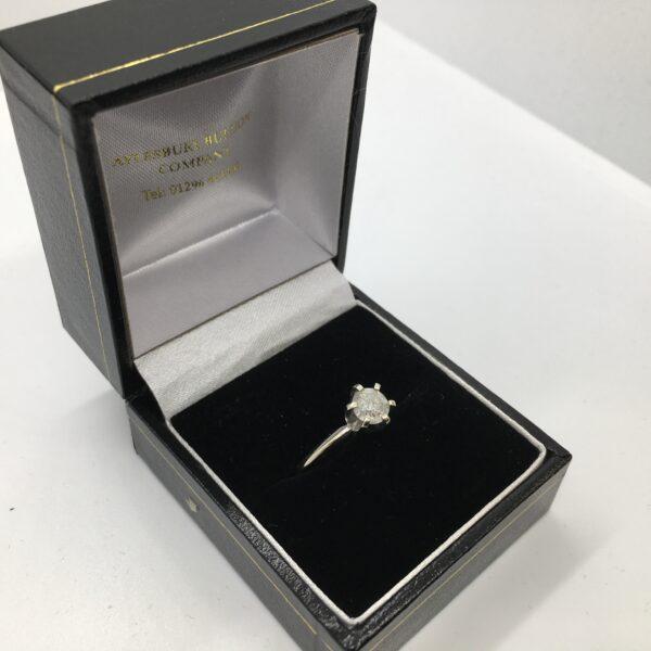 Preowned 14 carat white gold single stone diamond ring
