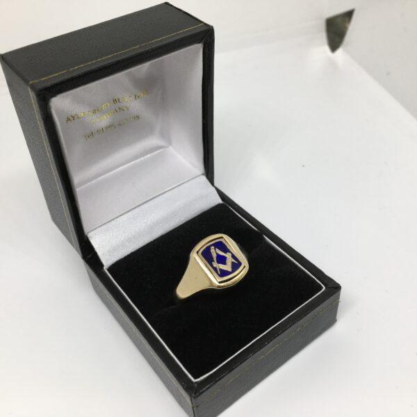 Preowned 9 carat yellow gold Masonic swivel ring