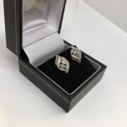 Preowned 9 carat yellow gold diamond set earrings