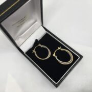 Preowned 9 carat two colour gold hoop earrings