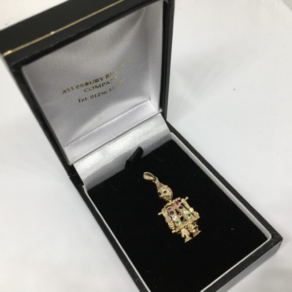 Preowned 9 carat yellow gold clown pendant