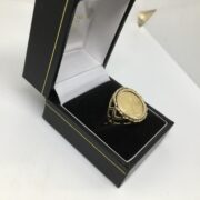 Preowned 9 carat yellow gold 1/10th krugerrand ring