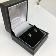 Preowned 18 carat yellow gold emerald and diamond earring