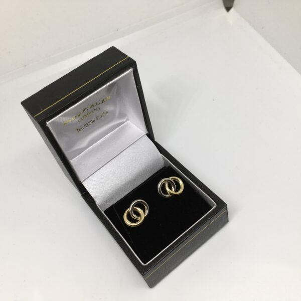 Preowned 9 carat two colour stud earrings