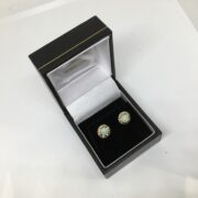 Preowned 9 carat yellow gold opal stud earrings
