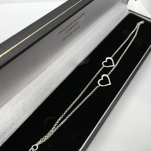 Sterling silver double heart bracelet