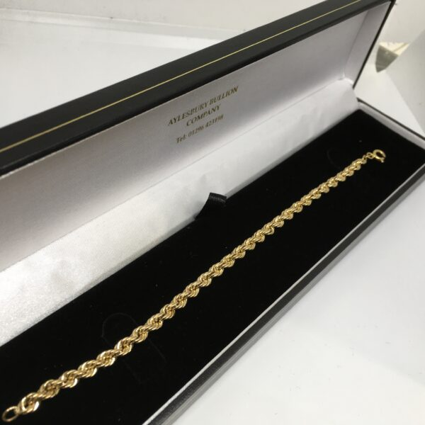 Preowned 9 carat yellow gold rope bracelet