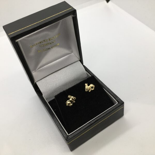 9 carat yellow gold rabbit stud earrings