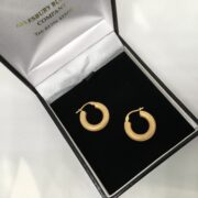 Preowned 9 carat yellow gold textured hoop earrings