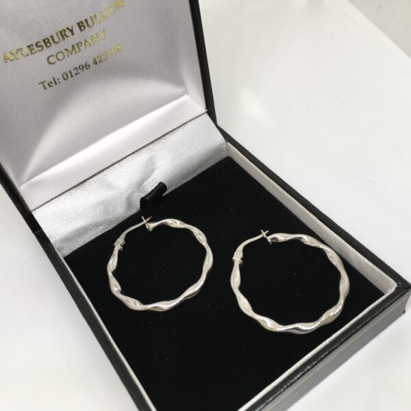 Preowned 9 carat white gold twist hoop earrings