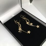 Preowned 9 carat yellow gold star drop earrings