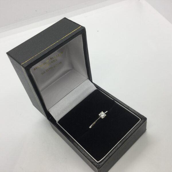 Sterling silver single stone diamond ring