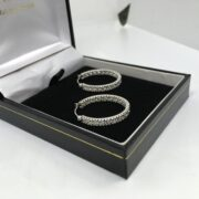 Preowned 14 carat white gold cubic zirconia hoop earrings