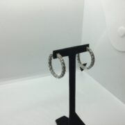 9 carat white gold diamond hoop earrings