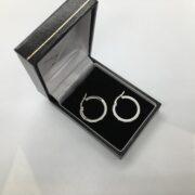 9 carat white gold cubic zirconia set hoop earrings