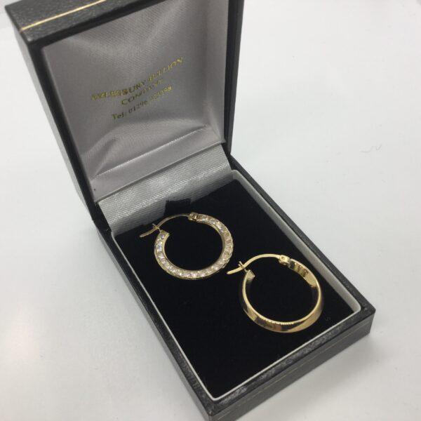 9 carat yellow gold CZ hoop earrings