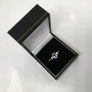 Preowned 14 carat white gold aqua marine and diamond ring