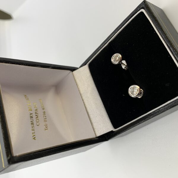 18 carat white gold diamond stud earrings