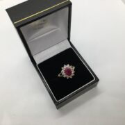 9 carat yellow gold ruby and diamond cluster ring