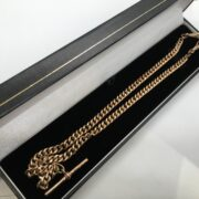 Preowned 9 carat rose gold Albert chain