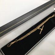Preowned 9 carat rose gold Albert bracelet