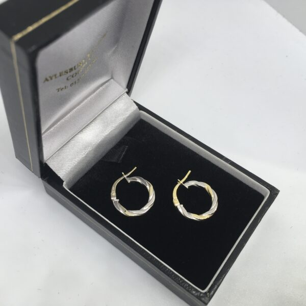 9 carat yellow and white gold hoop earrings