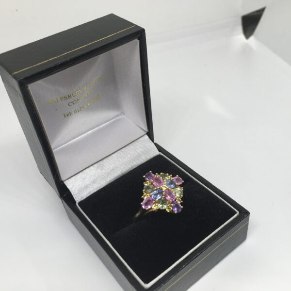Preowned 9 carat yellow gold rainbow sapphire cluster ring