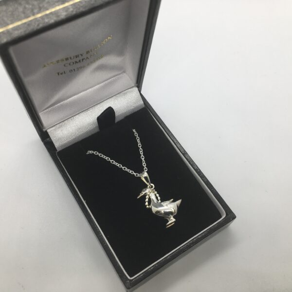 Sterling silver duck pendant on a chain