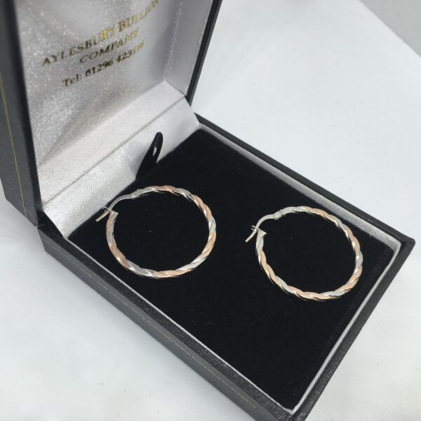 9 carat rose and white gold hoop earrings