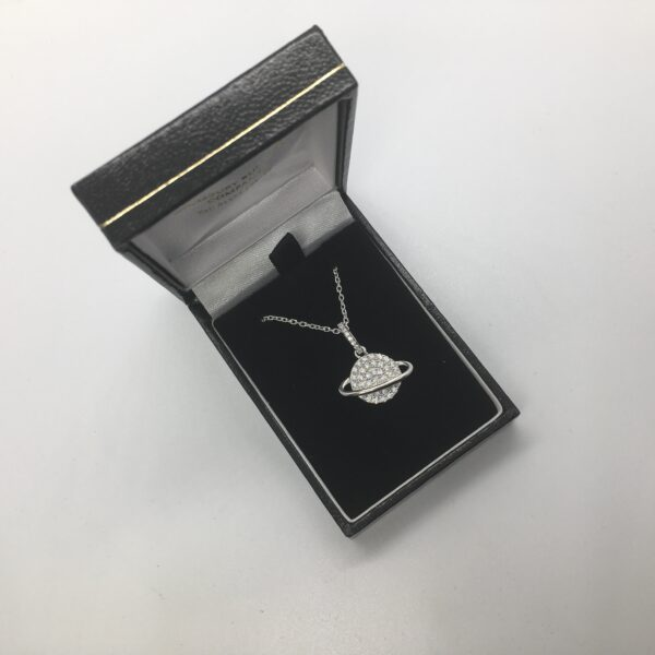 Sterling silver cubic zirconia planet pendant and chain