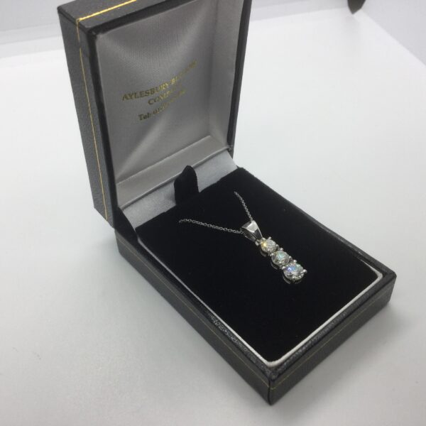 Platinum and diamond pendant on a chain