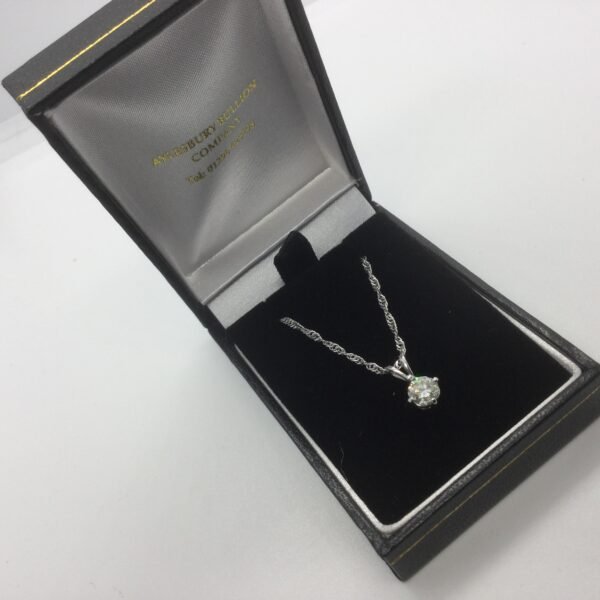 Preowned 18 carat white gold diamond pendant on a chain